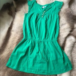 Old Navy - youth girls dress -Green w/ white dots